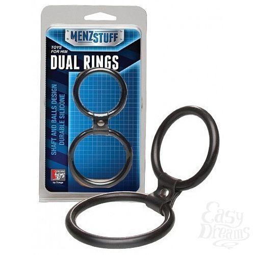 Фотография 1:  Чёрное двойное эрекционное кольцо Dual Rings Black