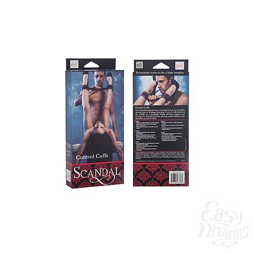 Фотография 3 California Exotic Novelties Наножники Scandal Control Cuffs с креплением на липучке атласные черно-красные